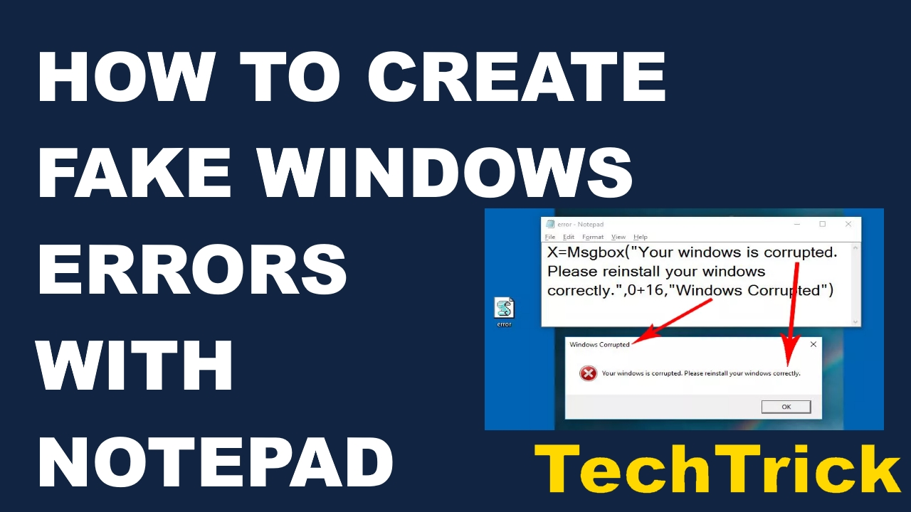 How To Create Fake Windows Errors With Notepad