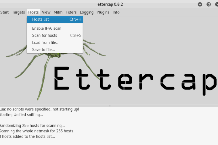 Spoofing and Man in Middle attack in Kali Linux - Using Ettercap