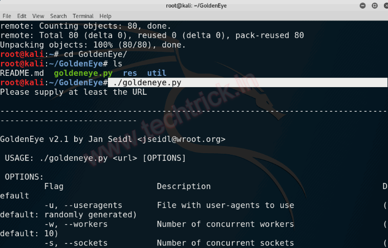 How To Install Goldeneye DDos Tool On Kali Linux
