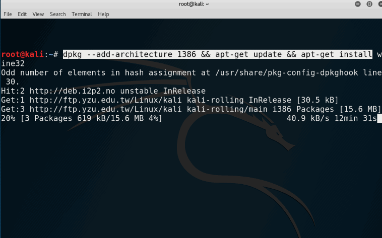 How to install Wine on Kali Linux and Debian 64 bit