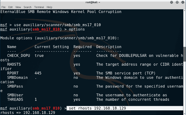 Hack Window 7 Exploiting Eternalblue for shell with Msfconsole