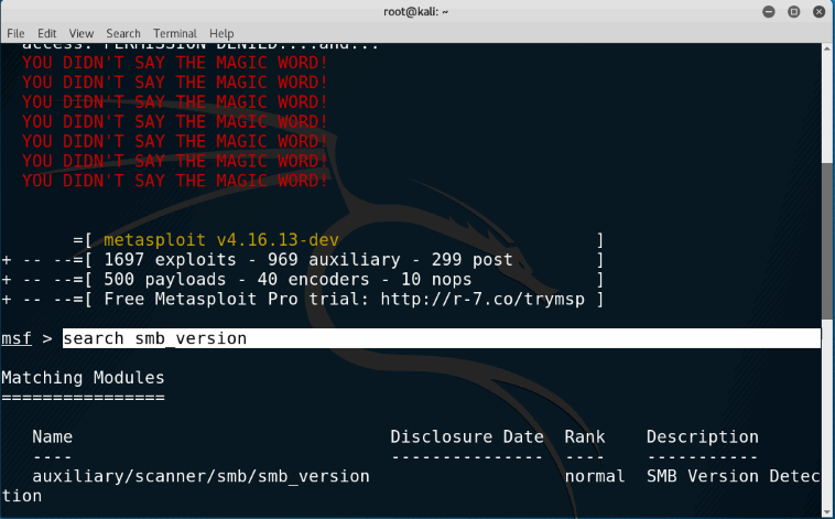 SMB Version Scanning with Metasploit