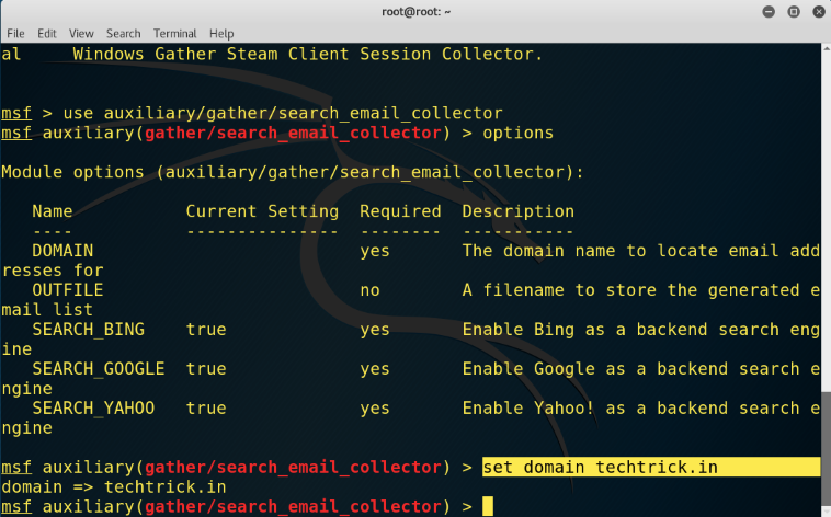 How to Extract Email Address of Domain using Metasploit