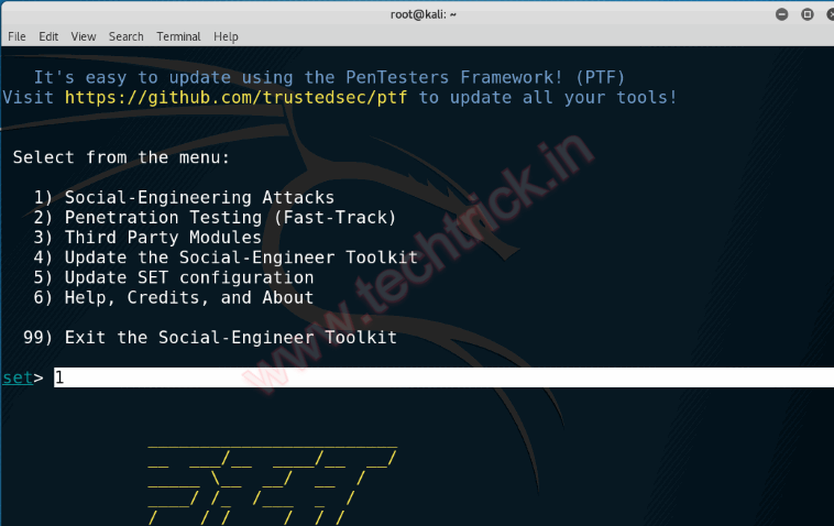 Using the Social Engineering Toolkit (SET) to create a backdoor executable