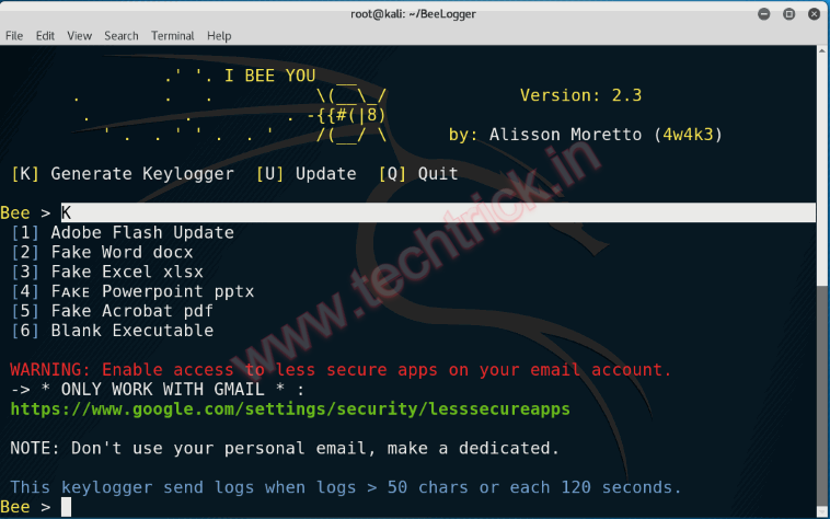 Hacking Facebook,Gmail,Twitter Using KeyLogger [Kali Linux - BeeLogger]
