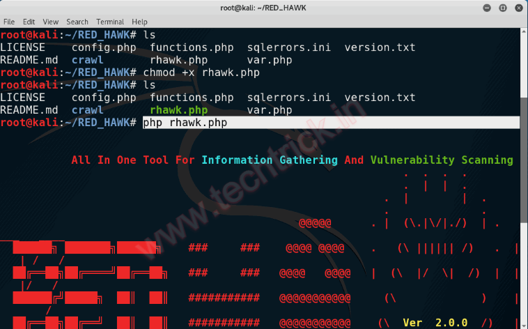 Best Information Gathering Tool/Vulnerability Scanner -   RED HAWK V2