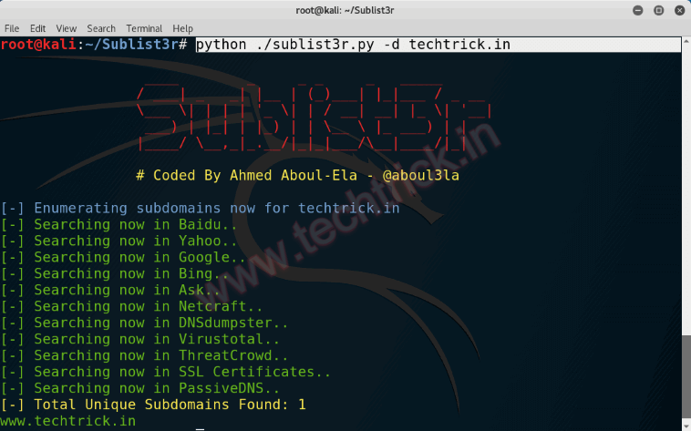 Subdomains Enumeration for Penetration Testing with Kali Linux - Sublist3r