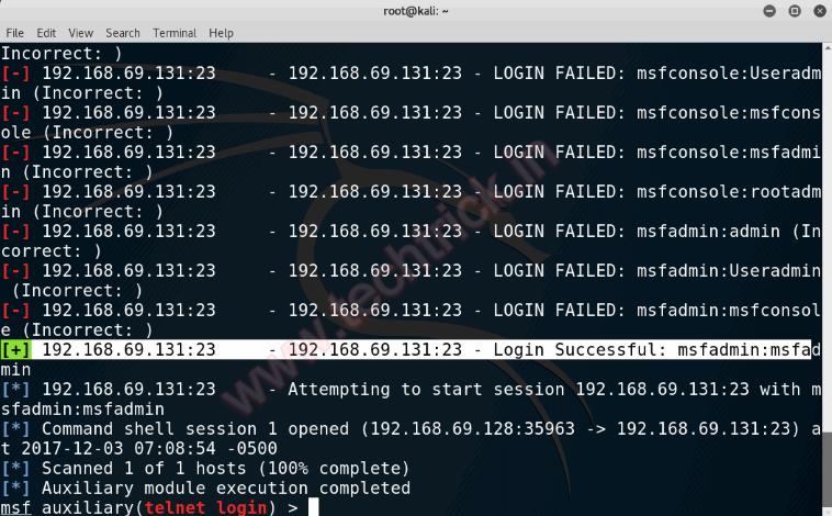Hacking Brute Force Telnet Login MetaSploit