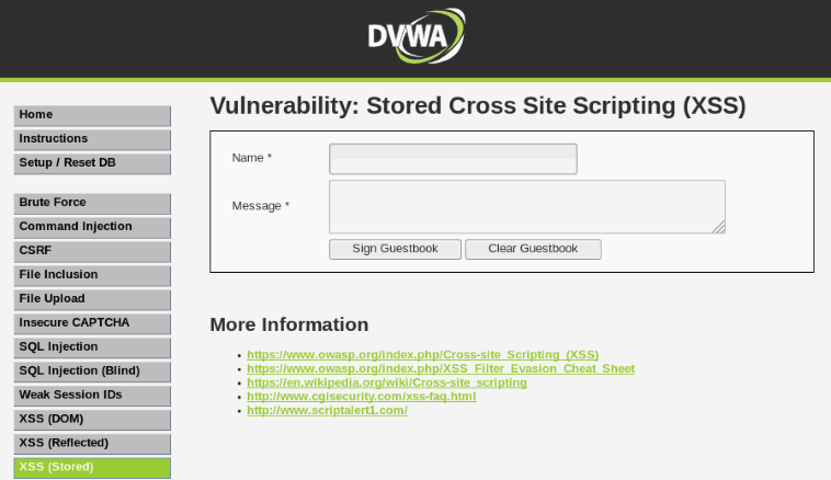 Stored,reflected and DOM Based XSS Exploitation in DVWA