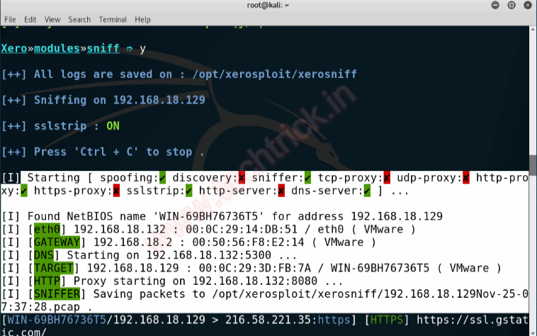 XeroSploit Advanced MITM Attack -Sniffing|Spoofing|Injecting JS|Replacing Images|Dos attack