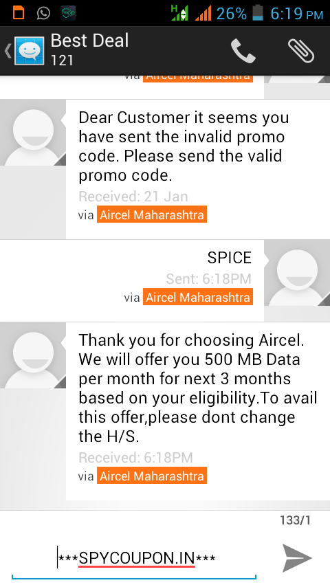 Working Aircel Trick To Get Free 500mb 3g Internet